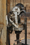 Drilling machine at work. Swivel and auger. Swivel of Drilling machine. Drilling wells for piles at the construction site Stock Image