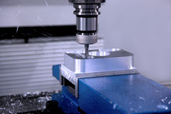 Drilling machine workpiece Royalty Free Stock Images