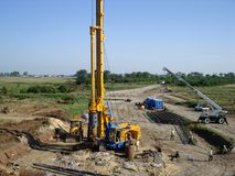 Machinery on construction site. Drilling machinery on the construction site Stock Photo