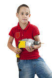 Drilling master. Cute boy posing with drill in his hands, isolated on white stock photos