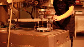 Drilling of metal stock video footage