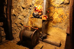 Drilling in mine with hand tools royalty free stock photos