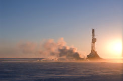 Drilling north of the Arctic Circle Stock Image