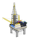 Drilling offshore platform isolated. 3d rendering Royalty Free Stock Photos