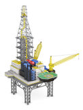 Drilling offshore platform isolated. 3d rendering.  Royalty Free Stock Images