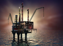 Drilling offshore Platform in night sea. 3D image. Royalty Free Stock Photography