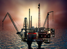 Drilling offshore Platform in night sea Royalty Free Stock Images