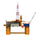 Drilling Offshore Platform Oil Rig. Isolated on white background. 3D Render Royalty Free Stock Photo
