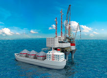 Drilling offshore Platform in sea. Royalty Free Stock Photo