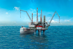 Drilling offshore Platform in sea stock photo