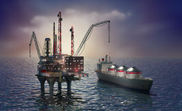 Drilling offshore platform and tanker. 3d image Stock Image