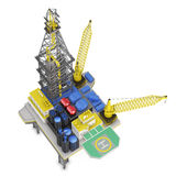 Drilling offshore platform top view isolated. 3d rendering Royalty Free Stock Images