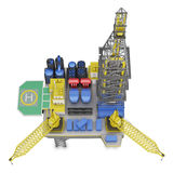 Drilling offshore platform top view isolated. 3d rendering Royalty Free Stock Photography