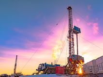Drilling an oil well in an oil and gas field in the Arctic stock photo