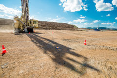 Drilling at an open pit stock photo