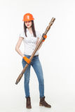 Drilling pile foundation young woman stock photos