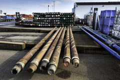 Drilling pipes for oil Stock Photos