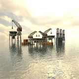 Drilling Platform in sea Stock Image
