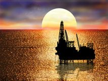 Drilling platform on sea Stock Photo