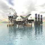 Drilling Platform in sea with clouds Royalty Free Stock Image
