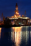 Drilling platform in shipyard Royalty Free Stock Image