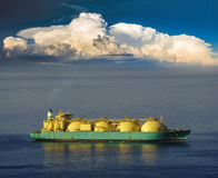 Drilling platform and tanker lng on the ocean Stock Photos