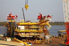 Drilling Platform under Contruction, Fabrication in Thailand Stock Photography