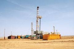 Drilling rig. View of the rig. Overall plan. Western Kazakhstan Stock Image