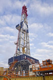 Drilling rig. Silhouette of drilling rig in winter Royalty Free Stock Photos