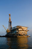 Drilling Rig. Oil or natural gas rig in Galveston Bay, Texas Stock Photo