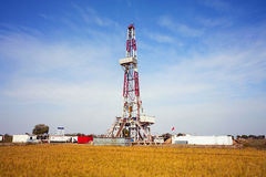 Drilling rig in autumn Stock Photo