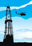 Drilling rig and helicopter. Vector background of drilling rig and helicopter silhouettes on blue sky Stock Images