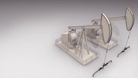 Drilling rig isolated on white. Two oil pumps working hard to get the crude oil, with copyspace stock video footage