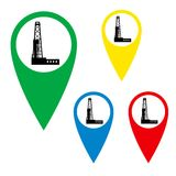 The drilling rig on the map marker. Royalty Free Stock Photography