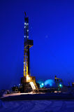 Drilling Rig at Night Stock Photos