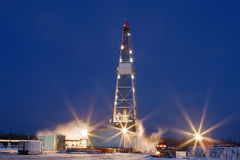 Drilling Rig in the night Royalty Free Stock Image