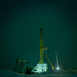 Drilling rig at night. Stock Photo