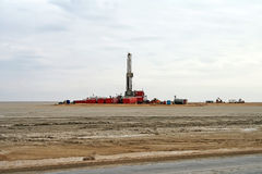 Drilling rig in the North Buzachi oil field Stock Photography