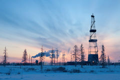 Drilling rig in the north of the Krasnoyarsk Territory Stock Images