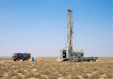 The drilling rig in the steppe. (uranium industry in kazakhstan Royalty Free Stock Photography