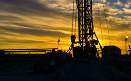 Drilling rigs daybreak Stock Photos