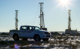 Drilling rigs. In the desert in the winter Stock Photography