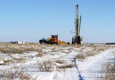 Drilling rigs. In the desert in the winter Royalty Free Stock Image