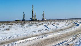 Drilling rigs. In the desert in the winter Stock Image