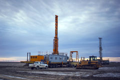Drilling rigs. Rigs minerals mined in the steppes of southern Kazakhstan Stock Photos