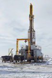 Drilling rigs. Rigs minerals mined in the steppes of southern Kazakhstan Royalty Free Stock Images