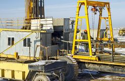 Drilling rigs. Rigs minerals mined in the steppes of southern Kazakhstan Stock Images
