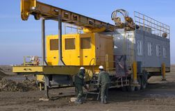 Drilling rigs. Rigs minerals mined in the steppes of southern Kazakhstan Stock Photo