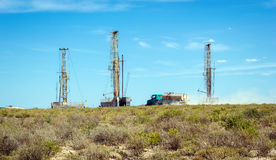 Drilling rigs. Operate in the steppe Royalty Free Stock Images
