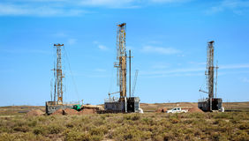Drilling rigs. Operate in the steppe Stock Images